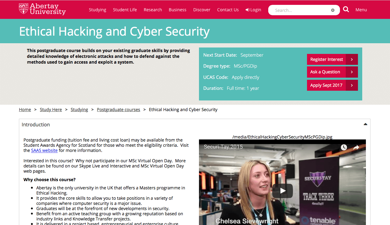 Ethical Hacking Abertay