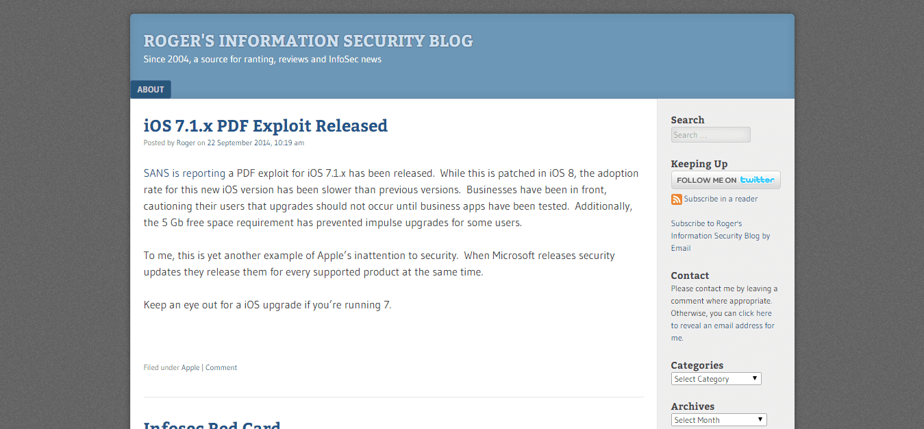 Blog Seguridad Roger's Information Security Blog