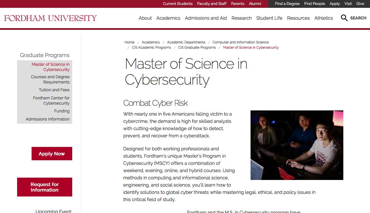 Master en Ciberseguridad Fordham University