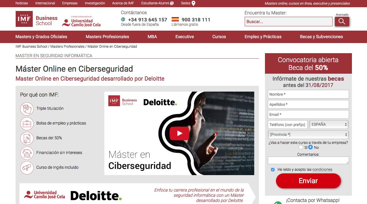Master Ciberseguridad IMF Universidad Camilo Jose Cela