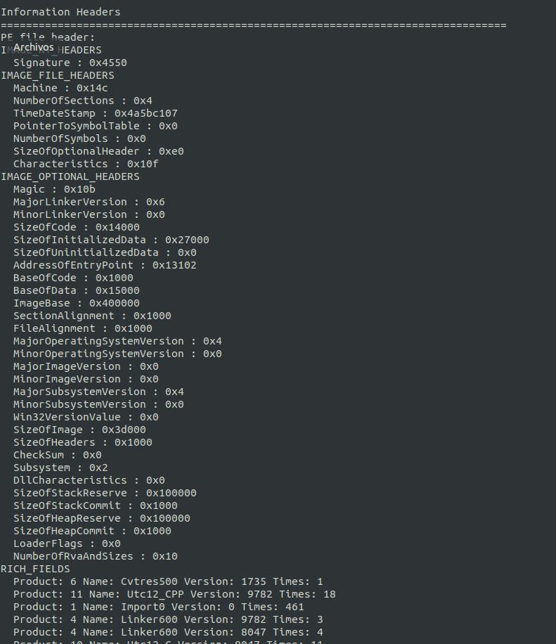 Informacion de cabeceras Malware script Rafa