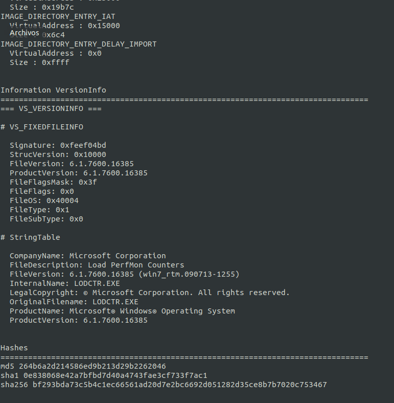 Version Info Script Analisis de Malware
