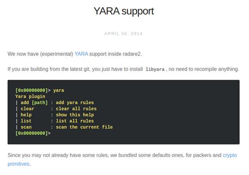 Reglas Yara Radare2